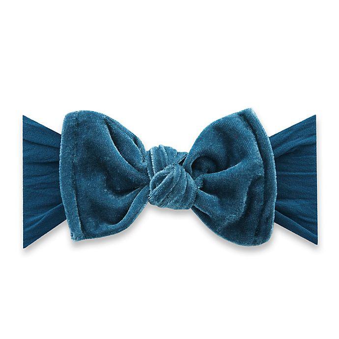 Alternate image 1 for Baby Bling One Size Velvet Knot Headband in Slate Blue