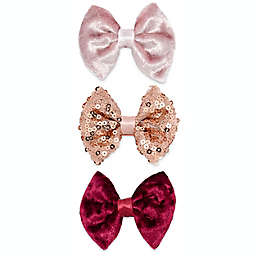 Khristie® 3-Pack Velour and Sequin Vintage Bow Hair Clips