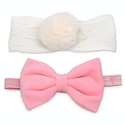 Khristie® 2-Pack Velour Bow and Pom-Pom Headbands