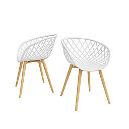 Jamesdar® Kurv Dining Arm Chairs in White/Natural (Set of 2)
