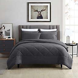Swift Home Plush Fleece 3-Piece Full/Queen Comforter Set in Pewter