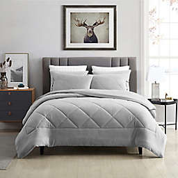 Swift Home Plush Fleece 3-Piece King Comforter Set in Silver