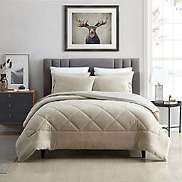 Swift Home Plush Fleece 3-Piece King Comforter Set in Oatmeal
