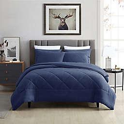 Swift Home Plush Fleece 2-Piece Twin/Twin XL Comforter Set in Blue