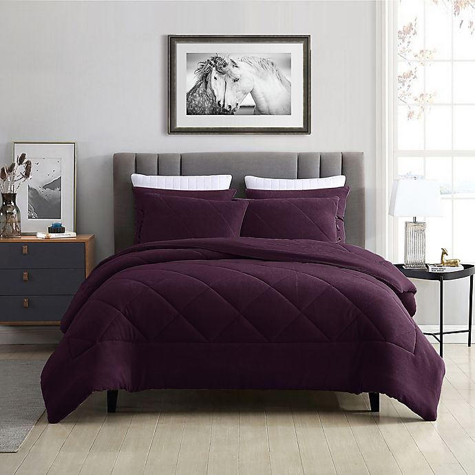 Alternate image 1 for Swift Home Plush Fleece 2-Piece Twin/Twin XL Comforter Set in Wine