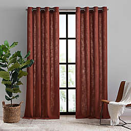 Mercantile Hawthorne 108-Inch Grommet Light Filtering Lined Window Curtain Panel in Brick
