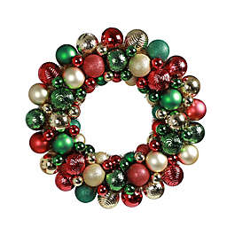 18-Inch Holiday Ornament Wreath in Red/Green/Gold
