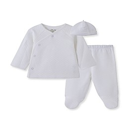 Little Me® 3-Piece Kimono, Footed Pant, and Hat Set in White