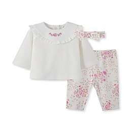 Little Me® 3-Piece Rose Tunic, Pant, and Headband Set in Ivory