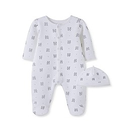 Little Me® 2-Piece Quilted Bears Footie and Hat Set in White