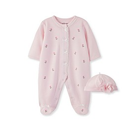 Little Me® 2-Piece Blossom Rose Footie and Cap Set in Pink