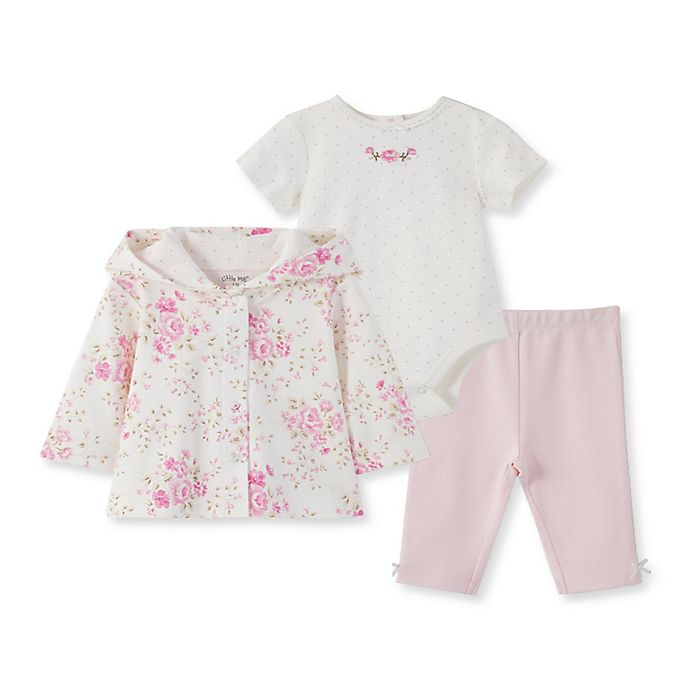 Alternate image 1 for Little Me® 3-Piece Rose Cardigan, Bodysuit, and Pant Set in White