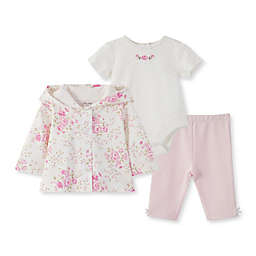 Little Me® Newborn 3-Piece Rose Cardigan, Bodysuit, and Pant Set in White