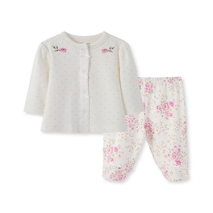 Alternate image 1 for Little Me Blossom Rose Size 3M 3-Piece Footed Pant Set in Pink