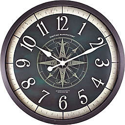 FirsTime® Compass Rose 24-Inch Wall Clock in Oil Rubbed Bronze