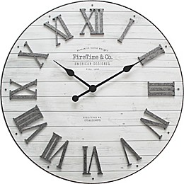 FirsTime® Emmett Farmhouse 27-Inch Wall Clock in Silver/White