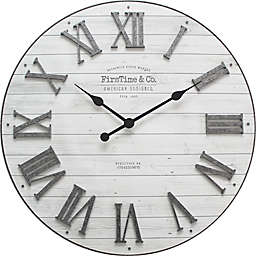 FirsTime® Emmett Farmhouse 27-Inch Wall Clock in Silver/White