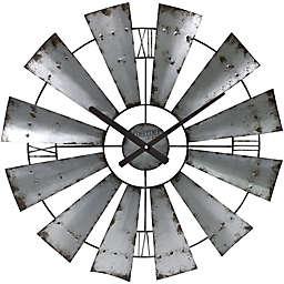 FirsTime® Farmhouse Windmill 24-Inch Wall Clock in Silver