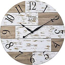 FirsTime & Co.®  27-Inch Harper Farmhouse Pallets Clock in White/Tan