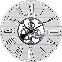 FirsTime & Co.® Shiplap Farmhouse Gears 27-Inch Wall Clock in White