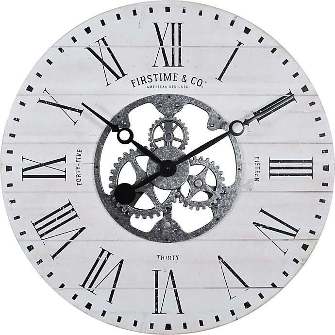 Alternate image 1 for FirsTime & Co.® Shiplap Farmhouse Gears 27-Inch Wall Clock in White