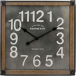FirsTime® Liam Industrial 24-Inch Square Wall Clock in Grey/White