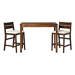 Forest Gate 3-Piece Acacia Wood Patio Counter-Height Dining Set with Cushions