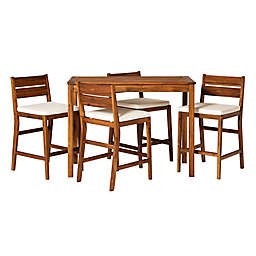 Forest Gate 5-Piece Acacia Wood Patio Counter-Height Dining Set in Brown with Cushions