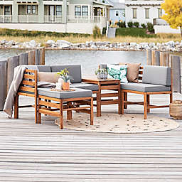 Forest Gate Modular 5-Piece Acacia Wood Patio Sectional Set in Brown with White Cushions