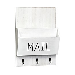 Wall Mail Bin with 3 Hooks in White