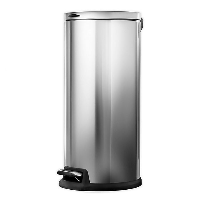 Alternate image 1 for Home Zone Testrite 30-Liter Round Trash Bin with Liner in Stainless Steel