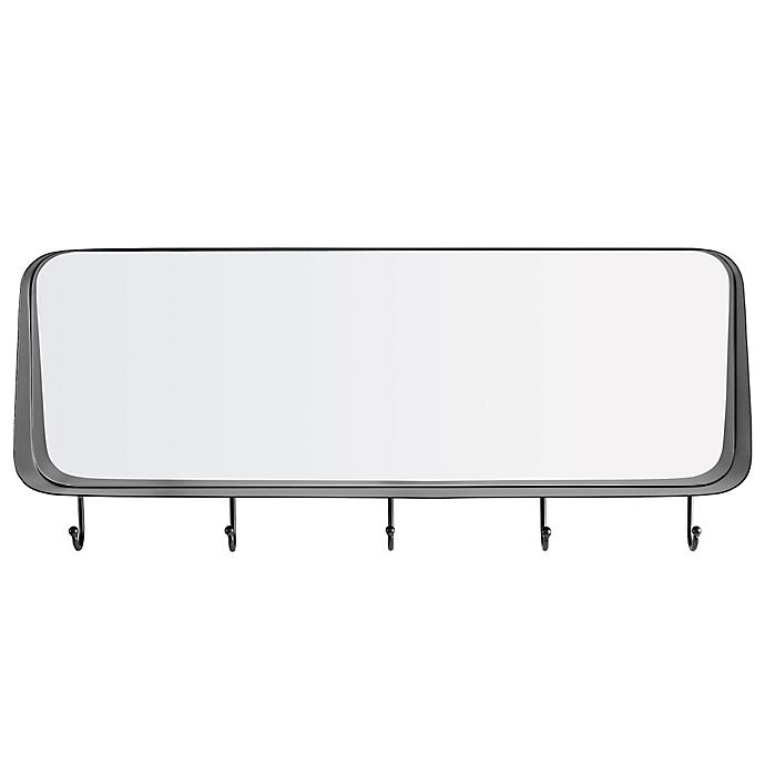 Alternate image 1 for Forest Gate™ 30-Inch x 13-Inch Rounded Mirror in Black with Hooks