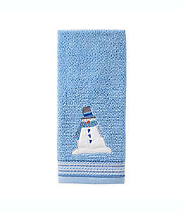 Toalla para manos de algodón SKL Home de muñeco de nieve color azul