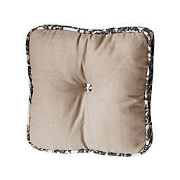 HiEnd Accents Boxed Button Square Throw Pillow in White