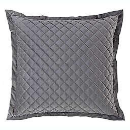 HiEnd Accents® Velvet Quilted European Pillow Sham in Grey