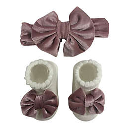 Curls & Pearls 2-Pack Mauve Velour Bow Headband and Bootie Sock Set