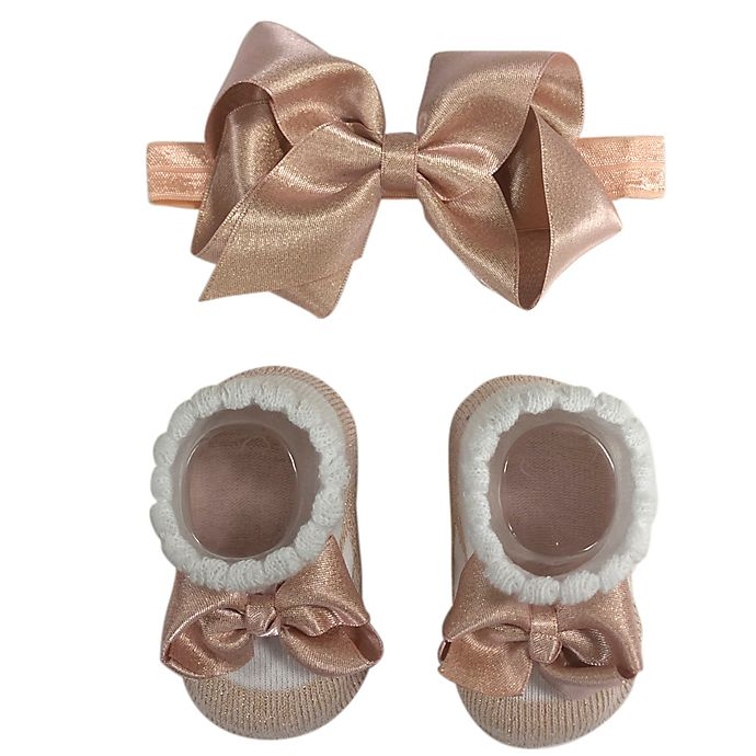 Alternate image 1 for Curls & Pearls Satin Headbands and Bootie Set in Peach