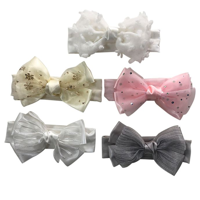 Alternate image 1 for Curls & Pearls 5-Pack Mixed Headbands with Fancy Bows