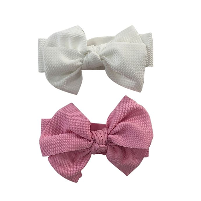 Alternate image 1 for Curls & Pearls 2-Pack Bow Headband Set in White/Pink