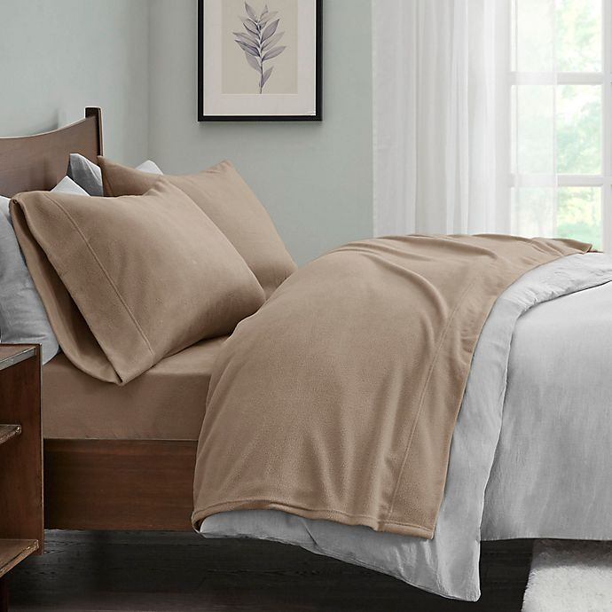 Alternate image 1 for True North by Sleep Philosophy Micro Fleece Full Sheet Set in Brown
