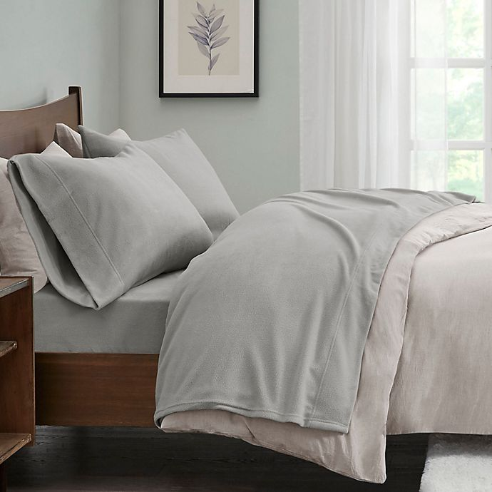 Alternate image 1 for True North by Sleep Philosophy Micro Fleece King Sheet Set in Grey