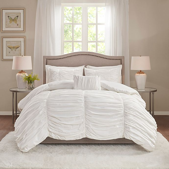 Alternate image 1 for Madison Park Delancey 4-Piece Comforter Set in White