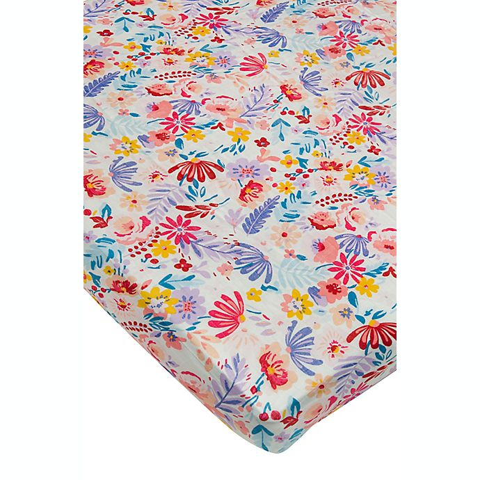 Alternate image 1 for Loulou Lollipop Light Floral Field Crib Sheet