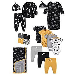 Gerber® 17-Piece Clouds Layette Set in Black/Mustard
