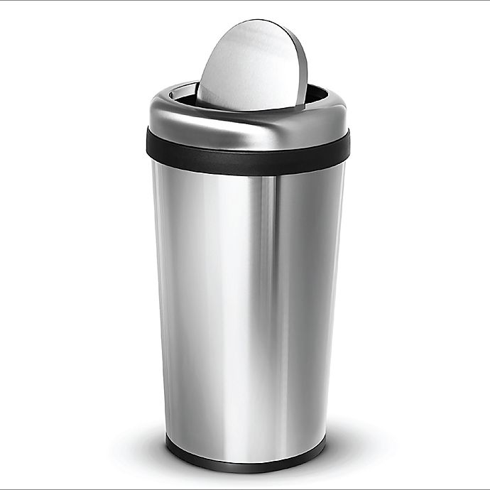 Alternate image 1 for Home Zone Testrite Swing Top Trash Bin in Stainless Steel