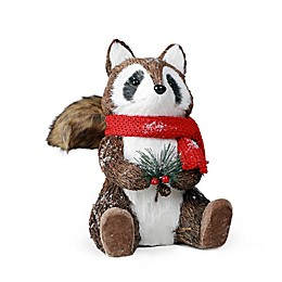 9.5-Inch Christmas Woodland Raccoon in Natural