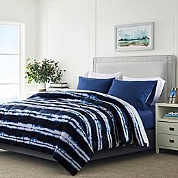 Tie Dye Stripe 4-Piece Reversible Comforter Set in Navy