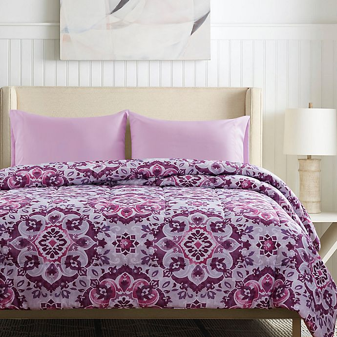 Alternate image 1 for Santiago 3-Piece Reversible Floral Twin/Twin XL Comforter Set in Berry