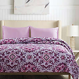 Santiago 3-Piece Reversible Floral Twin/Twin XL Comforter Set in Berry