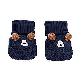 carter's® Newborn Crochet Dog Booties in Navy